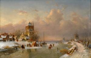 Leickert 1816 Brüssel 1907 Mainz Wintervergnügen Signiert 66 100 cm